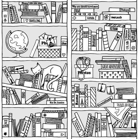Bücherregal gezeichnet  Hand Gezeichnet Bücherregal Mit Reiseliteratur, Globus ...
