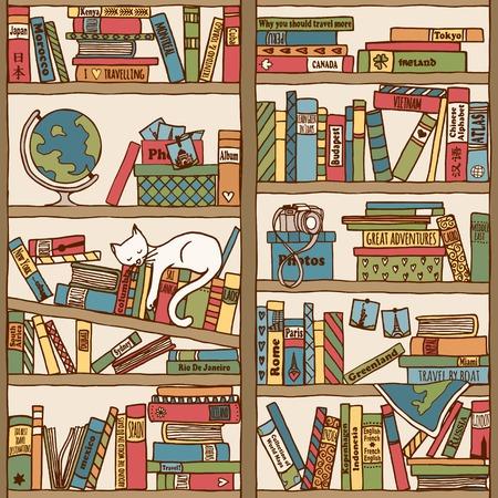 Bücherregal gezeichnet  Hand Drawn Bookshelf With Sleeping Cat - Black And White Royalty ...