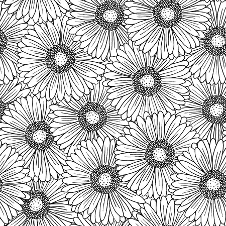 garden flower: Seamless background pattern with hand drawn gerbera flowers