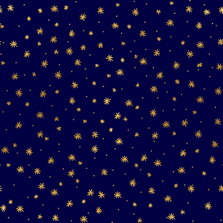 Seamless pattern with hand drawn gold stars Illustration