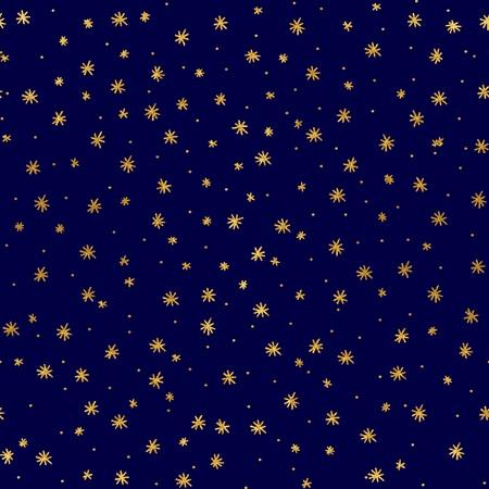 Seamless pattern with hand drawn gold stars Illustration