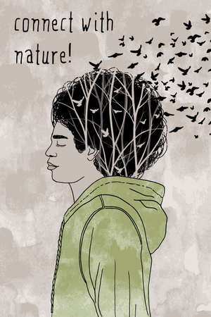 afro hair: connect with nature - hand drawn guy with afro hair style, branches and flying birds