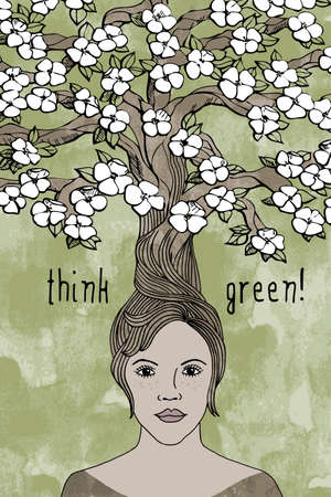 gaia: think green! - hand drawn girls face with hair turning into a blooming tree Illustration