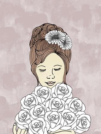 ramo de flores: dibujado a mano de la mujer con el ramo de rosas