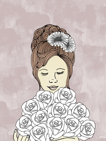 flowers on white: Hand drawn woman with bouquet of roses