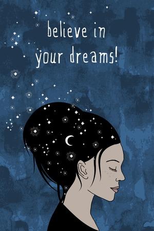 believe: ¡Cree en tus sueños! - Retrato de una mujer con el pelo oscuro y las estrellas