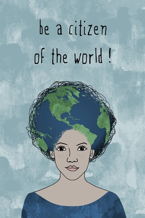 Be a citizen of the world! -  girl face with afro hairstyle and globe Vettoriali