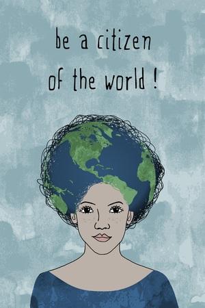 Wees een burger van de wereld! - Meisje gezicht met een afro kapsel en bol
