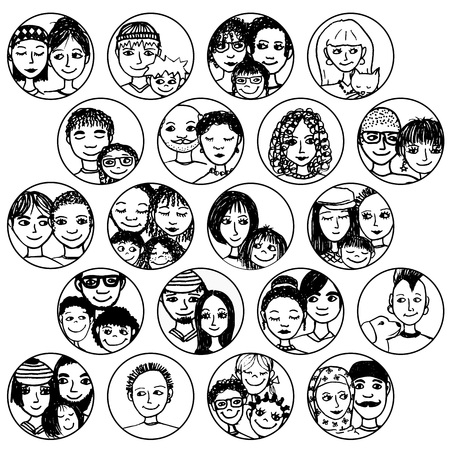 siblings:  families, couples, friends, siblings, singles . multicultural, multiethnic, mixed patchwork  Illustration