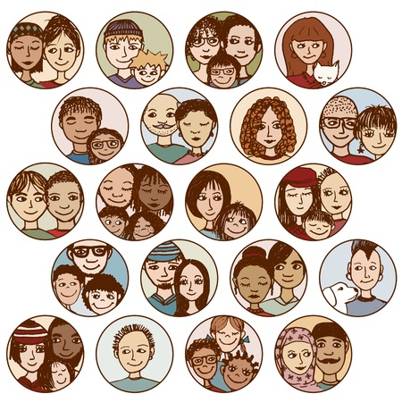 families, couples, friends, siblings, singles . multicultural, multiethnic, mixed patchwork  Ilustrace