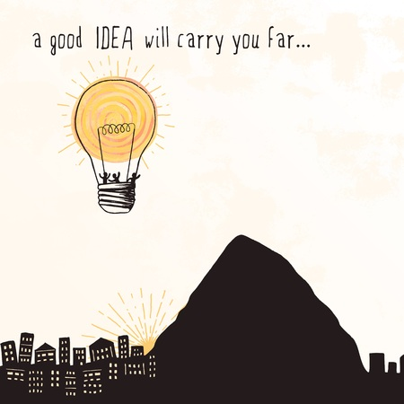A good idea will carry you far ... - tiny people flying away in a bright lightbulb that looks like a hot air balloon 向量圖像
