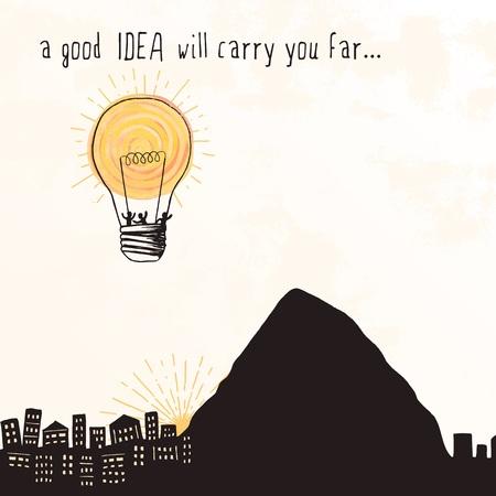 """""""Een goed idee zal je ver voeren ..."""" - kleine mensen vliegen weg in een heldere gloeilamp die eruit ziet als een luchtballon Stock Illustratie"""