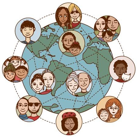 グローバル ・ コミュニケーション: 人々、家族、カップル、友人、World Wide の接続
