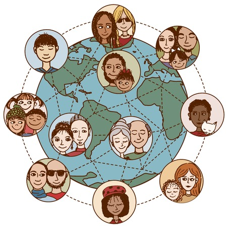 Global communications: people, families, couples, friends, Connected World Wide Stock Vector - 50965825