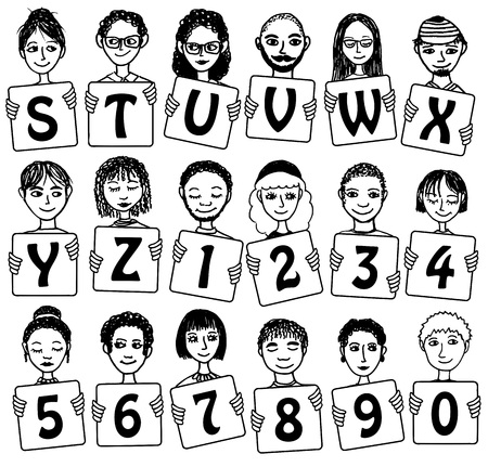 woman smile: Alphabet letters S - Z and numbers with cute faces