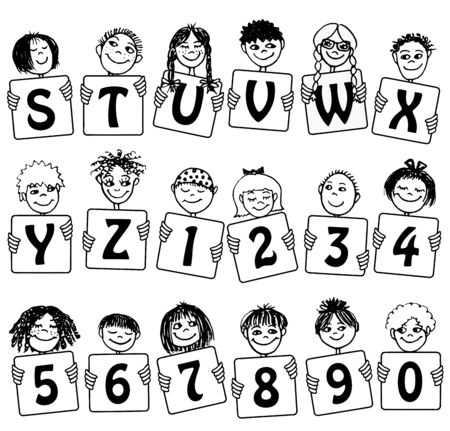 Alphabet letters S - Z en nummers met schattige kinderen