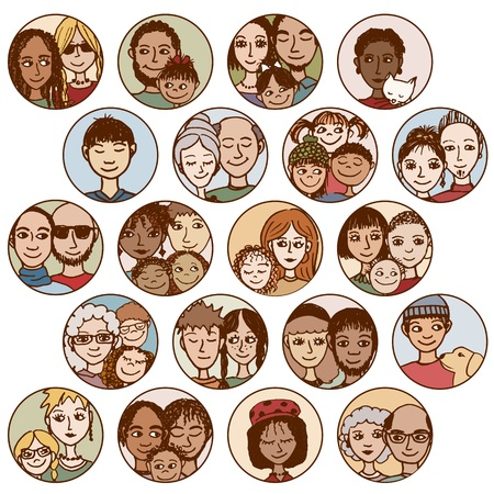 families, couples, friends, siblings, singles . multicultural, multiethnic, mixed patchwork  Ilustracja