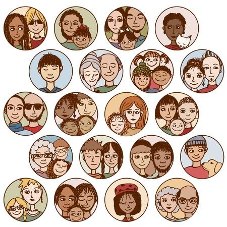 rodzin, par, przyjaciół, rodzeństwo, singli. wielokulturowym, wieloetnicznym, mieszane patchwork Ilustracje wektorowe