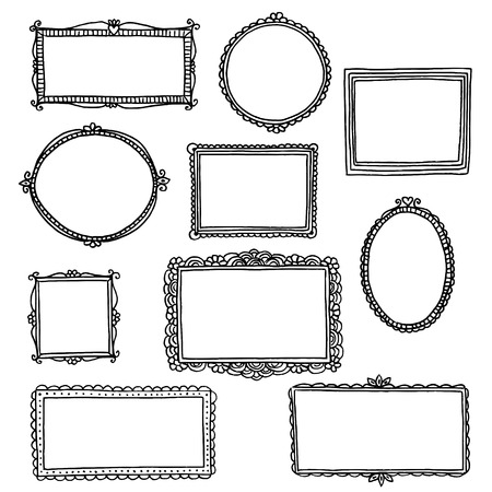 Hand getrokken doodle frames Stock Illustratie