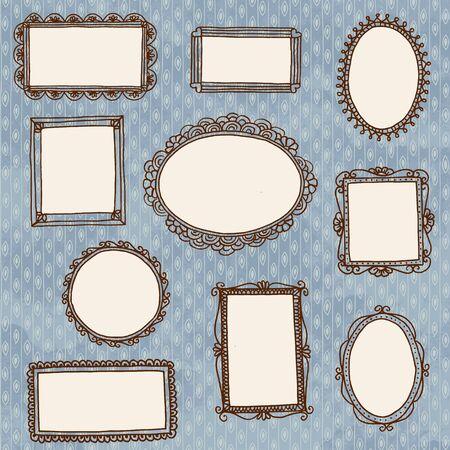 Main image doodle dessiné cadres sur le papier peint
