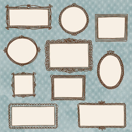 Hand drawn doodle picture frames on wallpaper