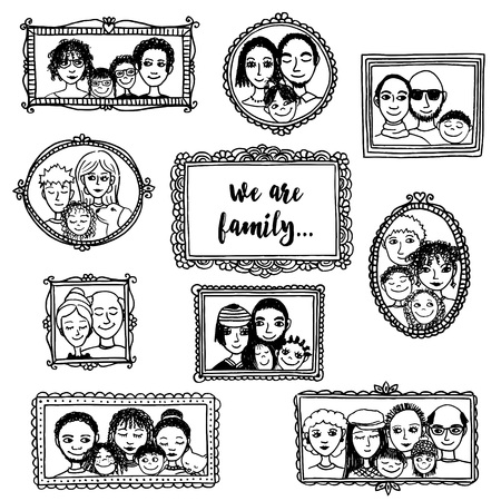 We Are Family! Cute Hand Drawn Picture Frames With Family Portraits ...