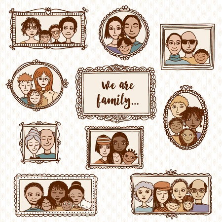 happy family: We are family! cute hand drawn picture frames with family portraits