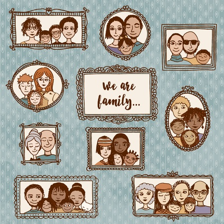 We are family! cute hand drawn picture frames with family portraits