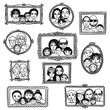 Cute hand drawn picture frames with family portraits