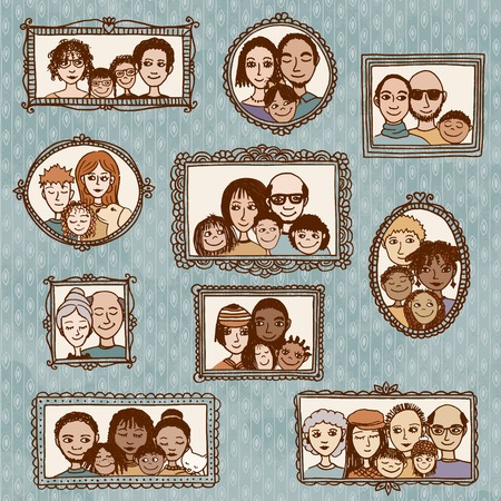 Leuke hand getrokken fotolijstjes met familieportretten Stock Illustratie