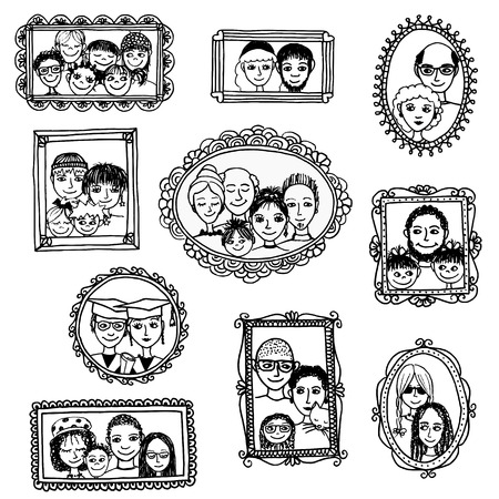 multiple ethnicity: Cute hand drawn picture frames with family portraits