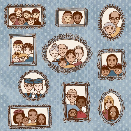 male portrait: Cute hand drawn picture frames with family portraits