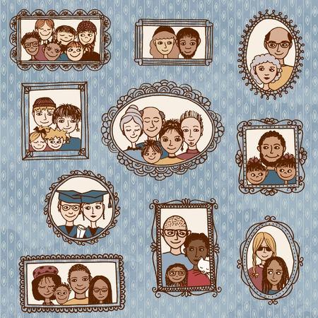 Leuke hand getrokken fotolijstjes met familieportretten