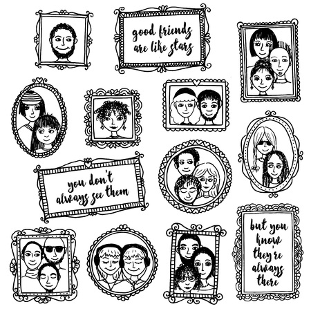 closeness: Good friends are like stars: you dont always see them, but you know theyre always there - cute hand drawn picture frames with people and inspirational quote