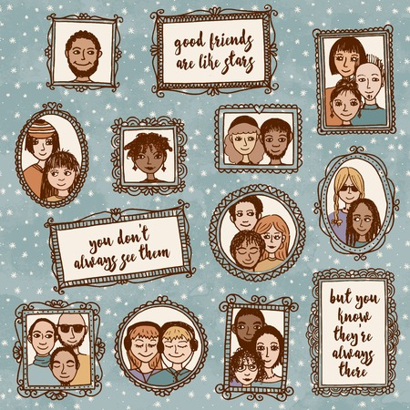 Good friends are like stars: you dont always see them, but you know theyre always there - cute hand drawn picture frames with people and inspirational quote