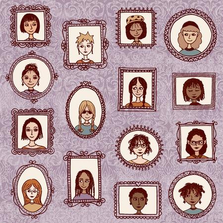 cabeza de mujer: retratos de chicas - dibujado a mano marcos Imagen linda con mujeres