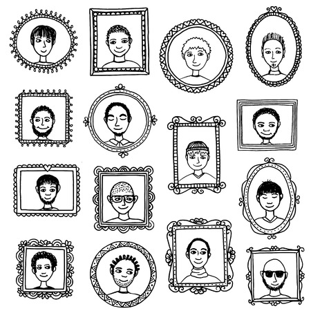 guys: Guys portraits - cute hand drawn picture frames with men