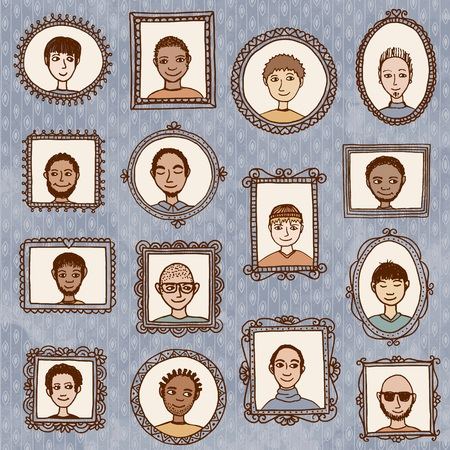 multiple ethnicity: Guys portraits - cute hand drawn picture frames with men
