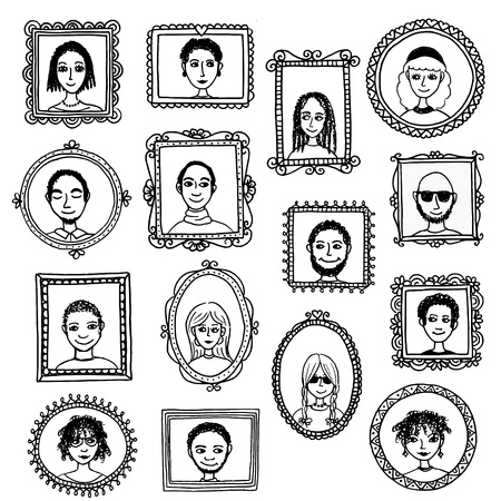 black men: Cute hand drawn picture frames with portraits of various men and women in black and white