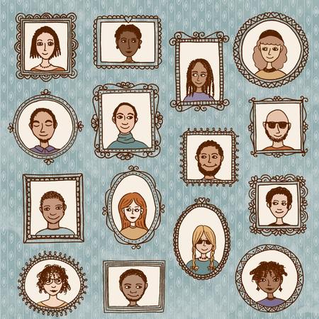 Image mignonne tirée par la main des cadres avec des portraits de divers hommes et femmes