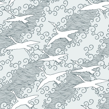 migrate: Japanese art inspired seamless pattern of gliding birds over the sea