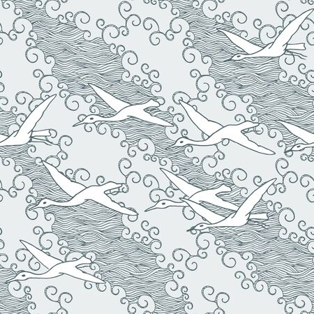 gliding: Japanese art inspired seamless pattern of gliding birds over the sea