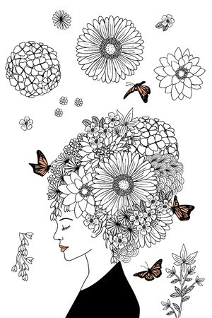 hair coloring: Hand drawn ink portrait of a girl with flower hair Illustration