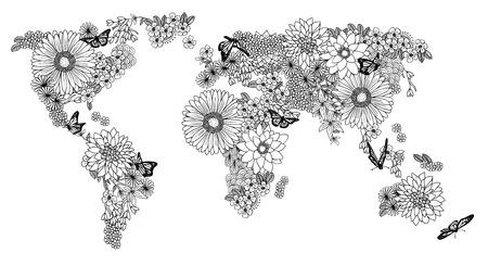 Mapa świata wykonane z kwiatów