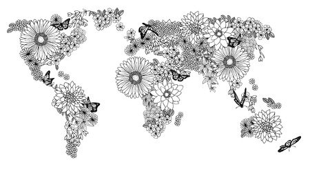 World map made of flowers Stock Illustratie