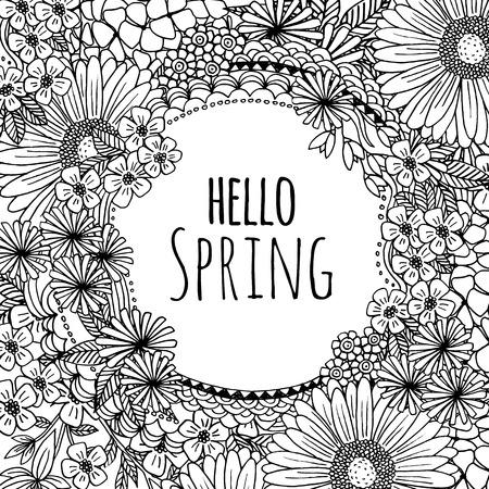 flower  hand: Hand drawn flower frame hello spring!