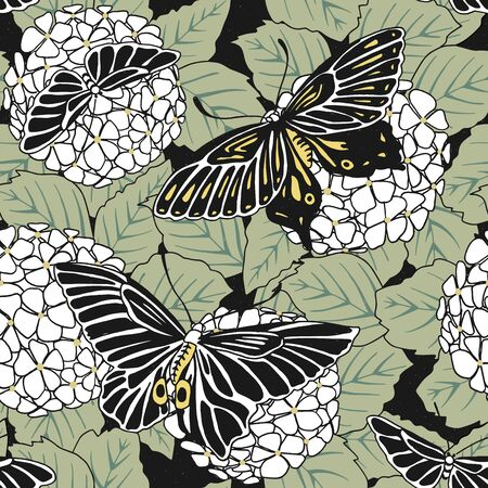 arte giapponese ispirato modello continuo di fiori Hortensia e farfalle