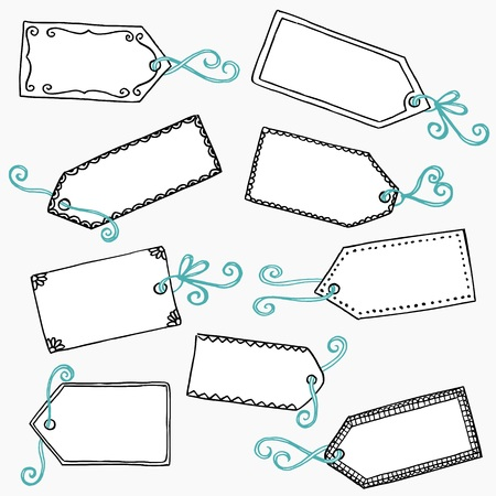 price label: Hand drawn doodle gift tags Illustration