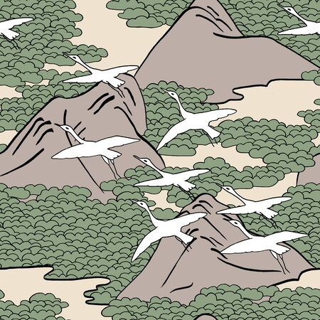 migrate: Japanese art inspired seamless pattern of gliding birds over mountains