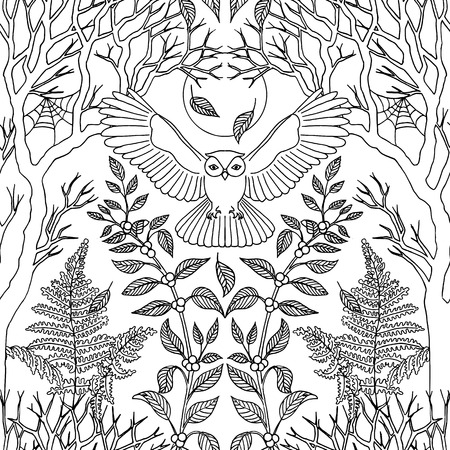 Hand drawn seamless black and white pattern with flying owl and trees Çizim